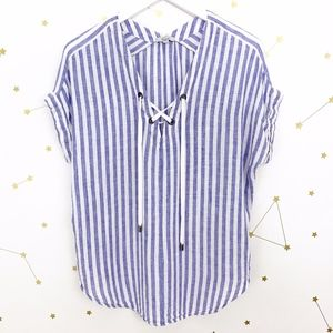 Rails • Blue White Striped Lace Up Jeri Blouse S